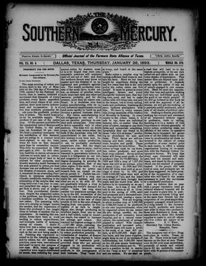 Primary view of object titled 'The Southern Mercury. (Dallas, Tex.), Vol. 12, No. 4, Ed. 1 Thursday, January 26, 1893'.