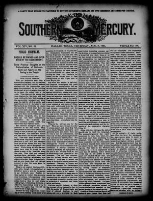 Primary view of object titled 'The Southern Mercury. (Dallas, Tex.), Vol. 14, No. 32, Ed. 1 Thursday, August 8, 1895'.