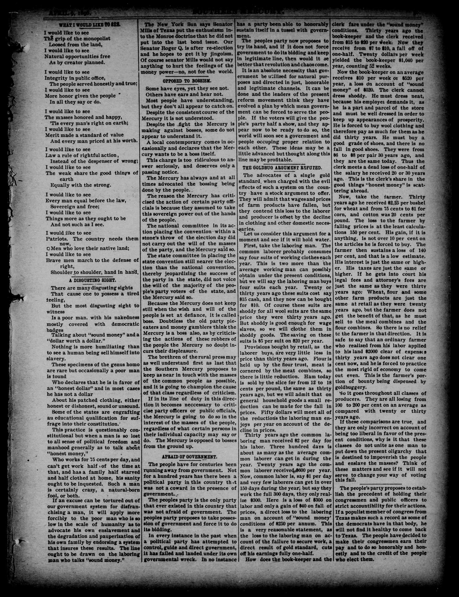 The Southern Mercury. (Dallas, Tex.), Vol. 15, No. 15, Ed. 1 Thursday, April 9, 1896                                                                                                      [Sequence #]: 5 of 16