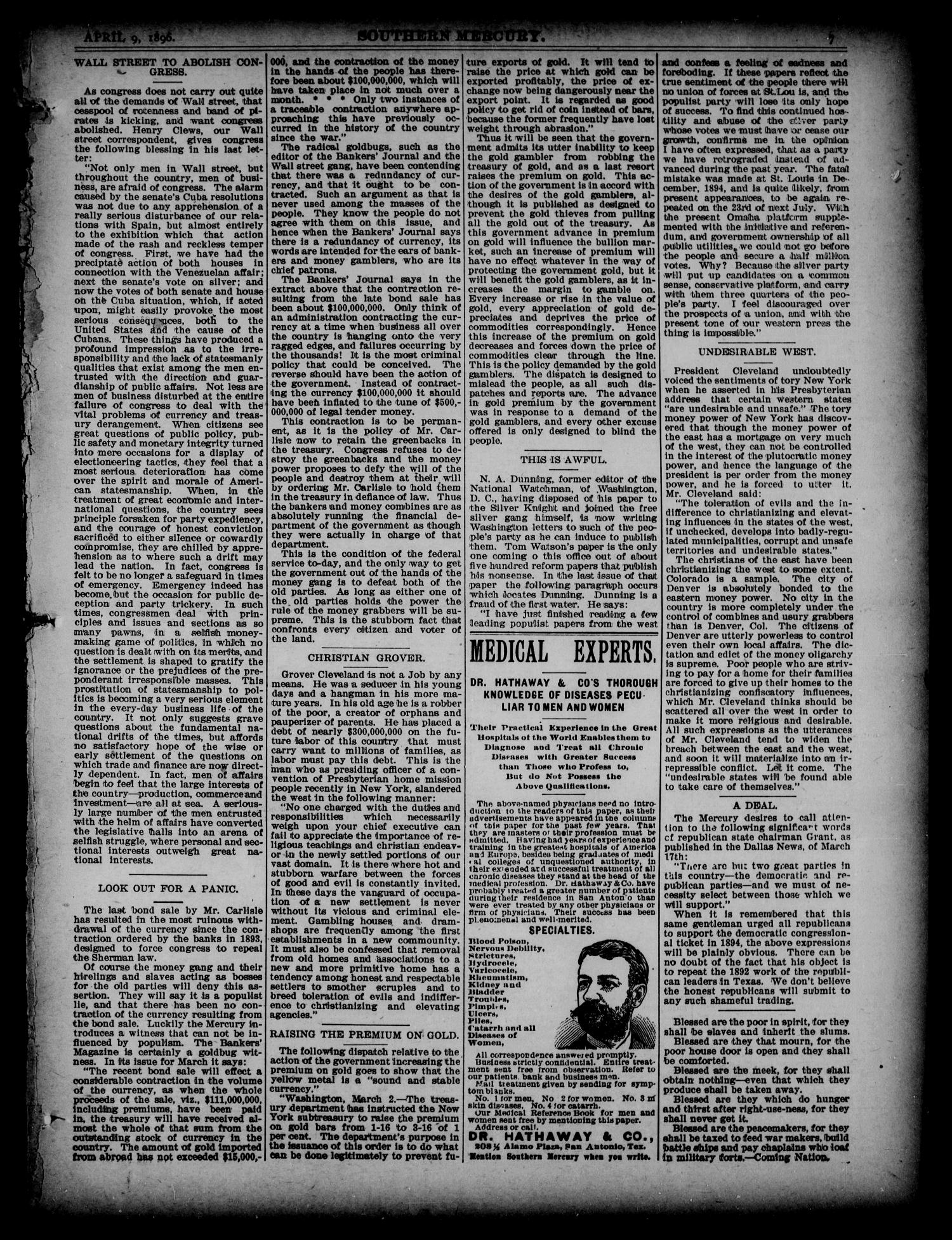 The Southern Mercury. (Dallas, Tex.), Vol. 15, No. 15, Ed. 1 Thursday, April 9, 1896                                                                                                      [Sequence #]: 7 of 16
