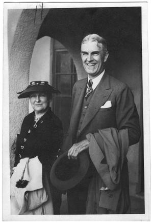 Primary view of object titled '[Susan Vaughn and William Lockhart Clayton with building in background]'.