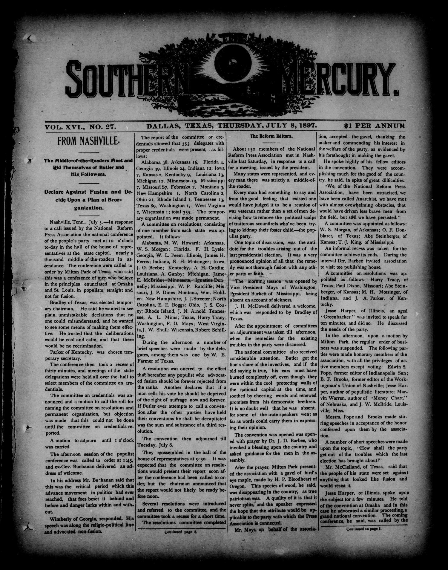 The Southern Mercury. (Dallas, Tex.), Vol. 16, No. 27, Ed. 1 Thursday, July 8, 1897                                                                                                      [Sequence #]: 1 of 16