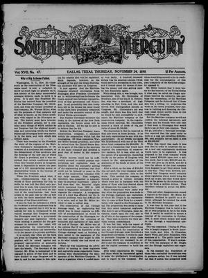 Primary view of object titled 'Southern Mercury. (Dallas, Tex.), Vol. 17, No. 47, Ed. 1 Thursday, November 24, 1898'.