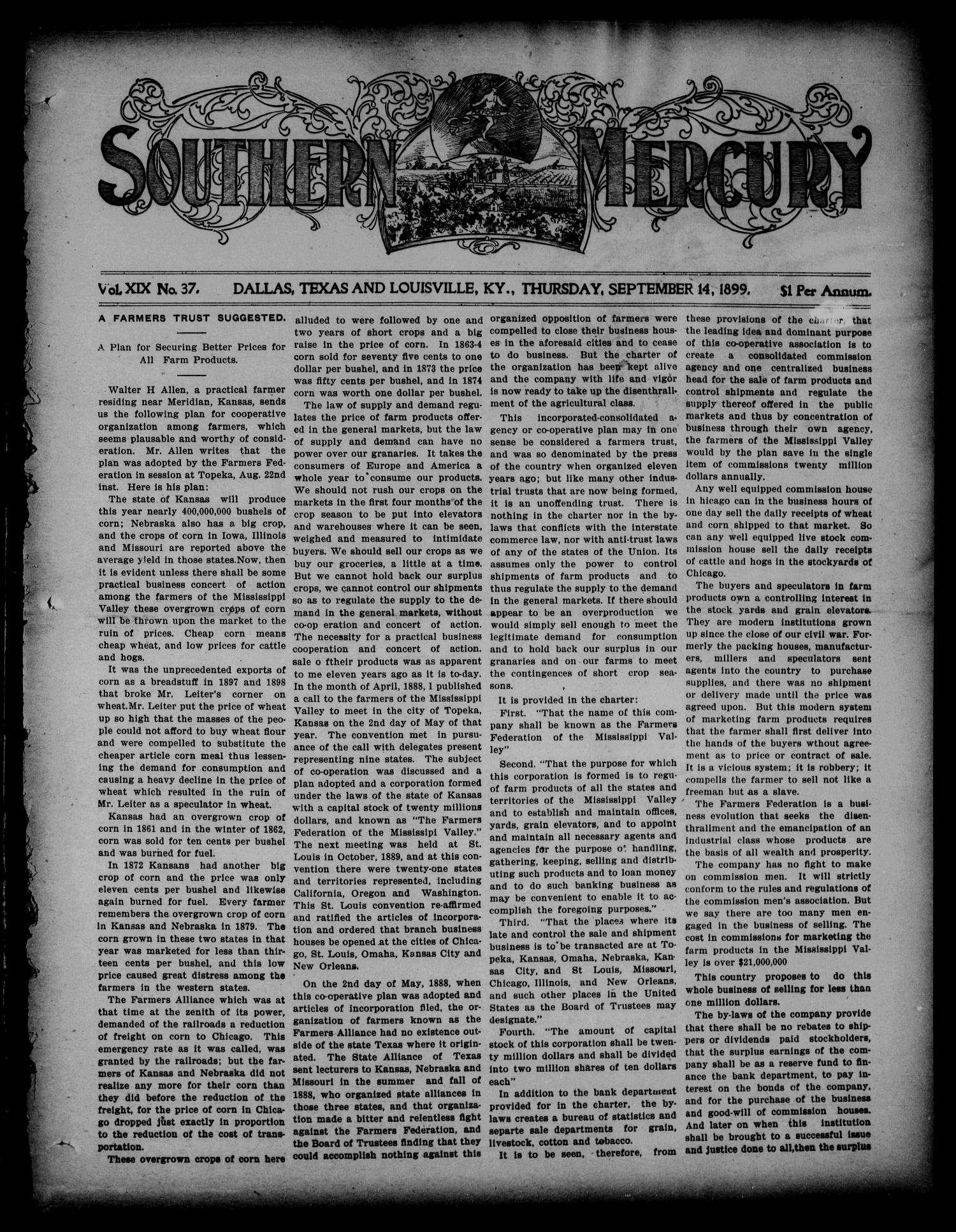 Southern Mercury. (Dallas, Tex.), Vol. 19, No. 37, Ed. 1 Thursday, September 14, 1899                                                                                                      [Sequence #]: 1 of 16