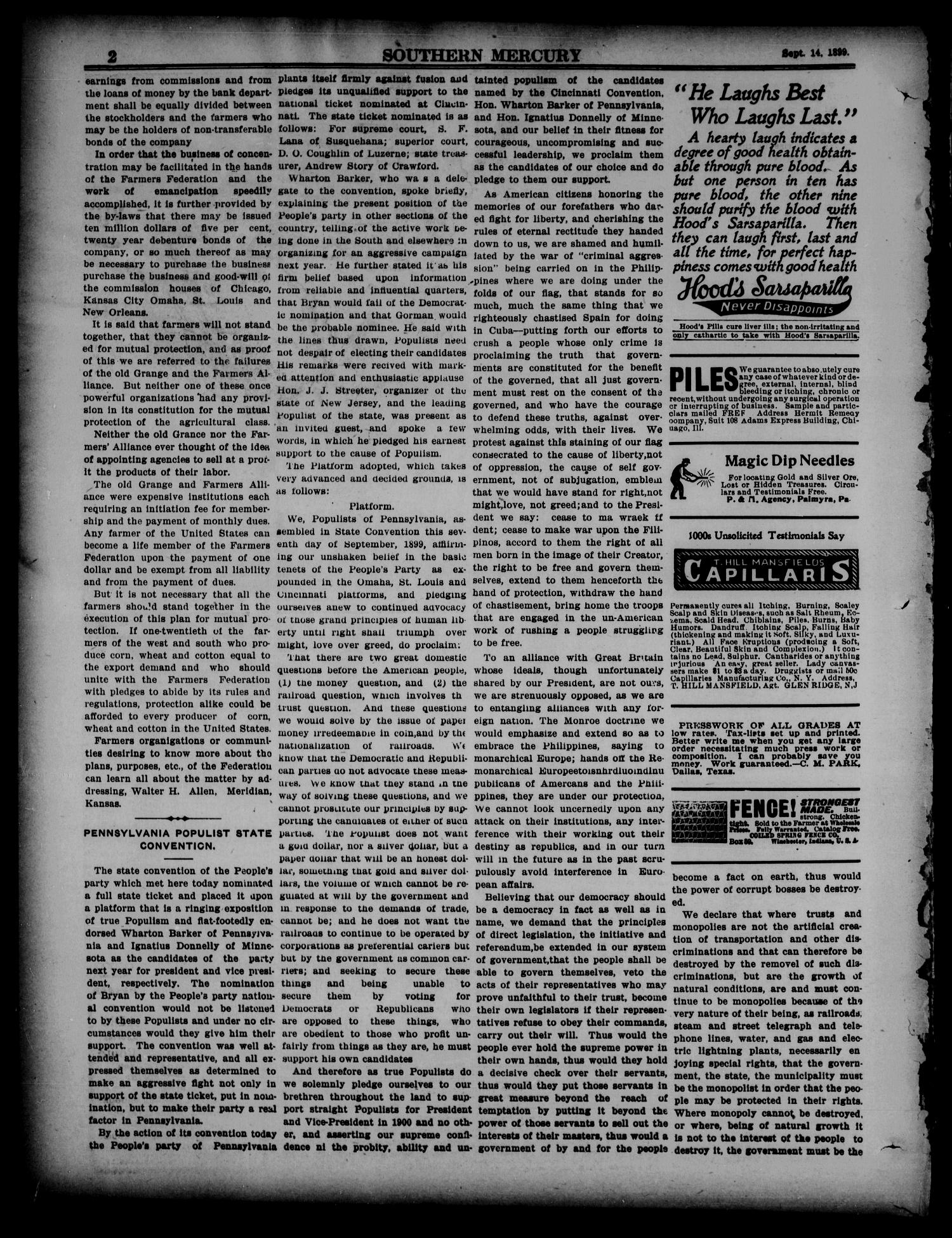Southern Mercury. (Dallas, Tex.), Vol. 19, No. 37, Ed. 1 Thursday, September 14, 1899                                                                                                      [Sequence #]: 2 of 16