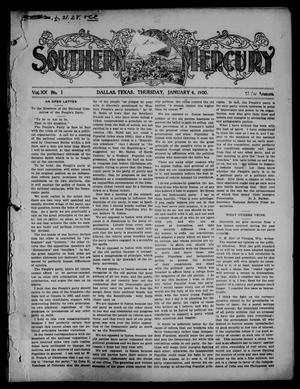 Primary view of object titled 'Southern Mercury. (Dallas, Tex.), Vol. 20, No. 1, Ed. 1 Thursday, January 4, 1900'.