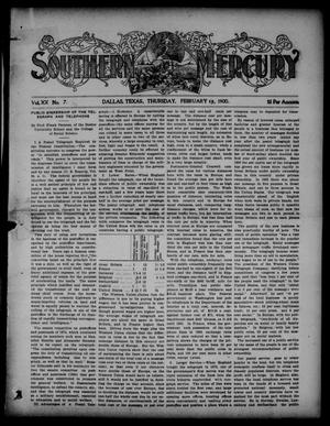 Primary view of object titled 'Southern Mercury. (Dallas, Tex.), Vol. 20, No. 7, Ed. 1 Thursday, February 15, 1900'.