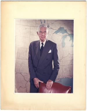 Primary view of object titled '[William Lockhart Clayton portrait with U.S. map in background]'.