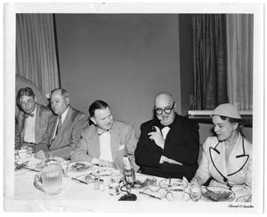 [Lamar Fleming, Jr., Col. William B. Bates seated with unidentified men and Oveta Culp Hobby]