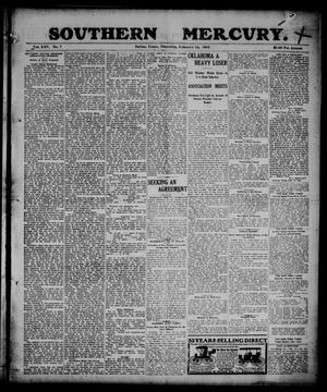 Primary view of object titled 'Southern Mercury. (Dallas, Tex.), Vol. 25, No. 7, Ed. 1 Thursday, February 16, 1905'.