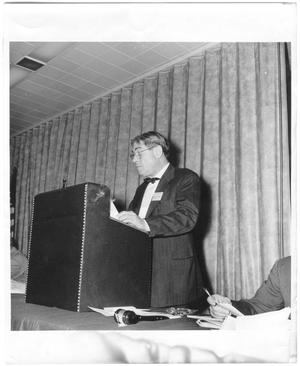 Primary view of object titled '[Lamar Fleming, Jr. speaking at the National Cotton Council Annual Meeting in 1954]'.