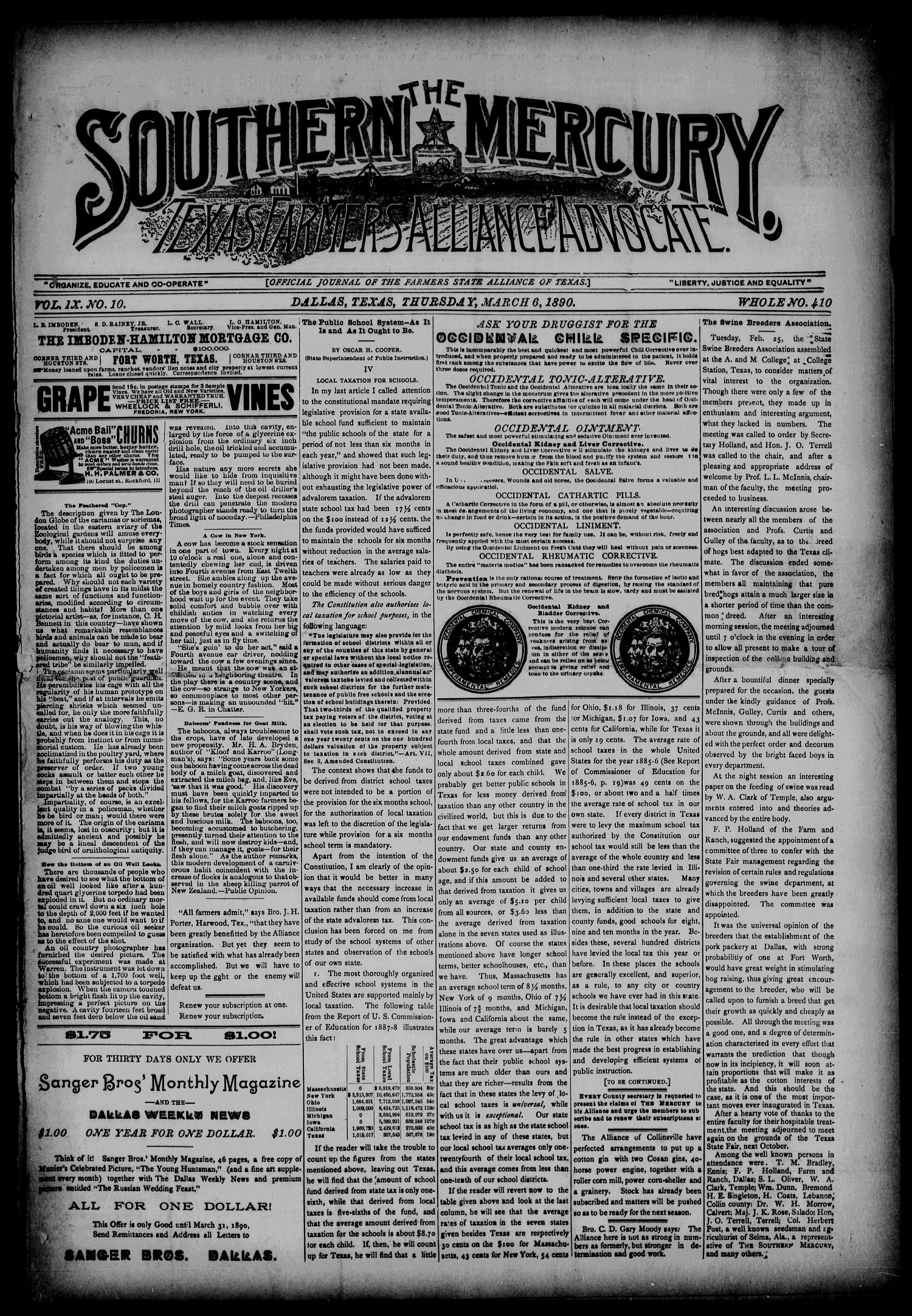 The Southern Mercury, Texas Farmers' Alliance Advocate. (Dallas, Tex.), Vol. 9, No. 10, Ed. 1 Thursday, March 6, 1890                                                                                                      [Sequence #]: 1 of 8