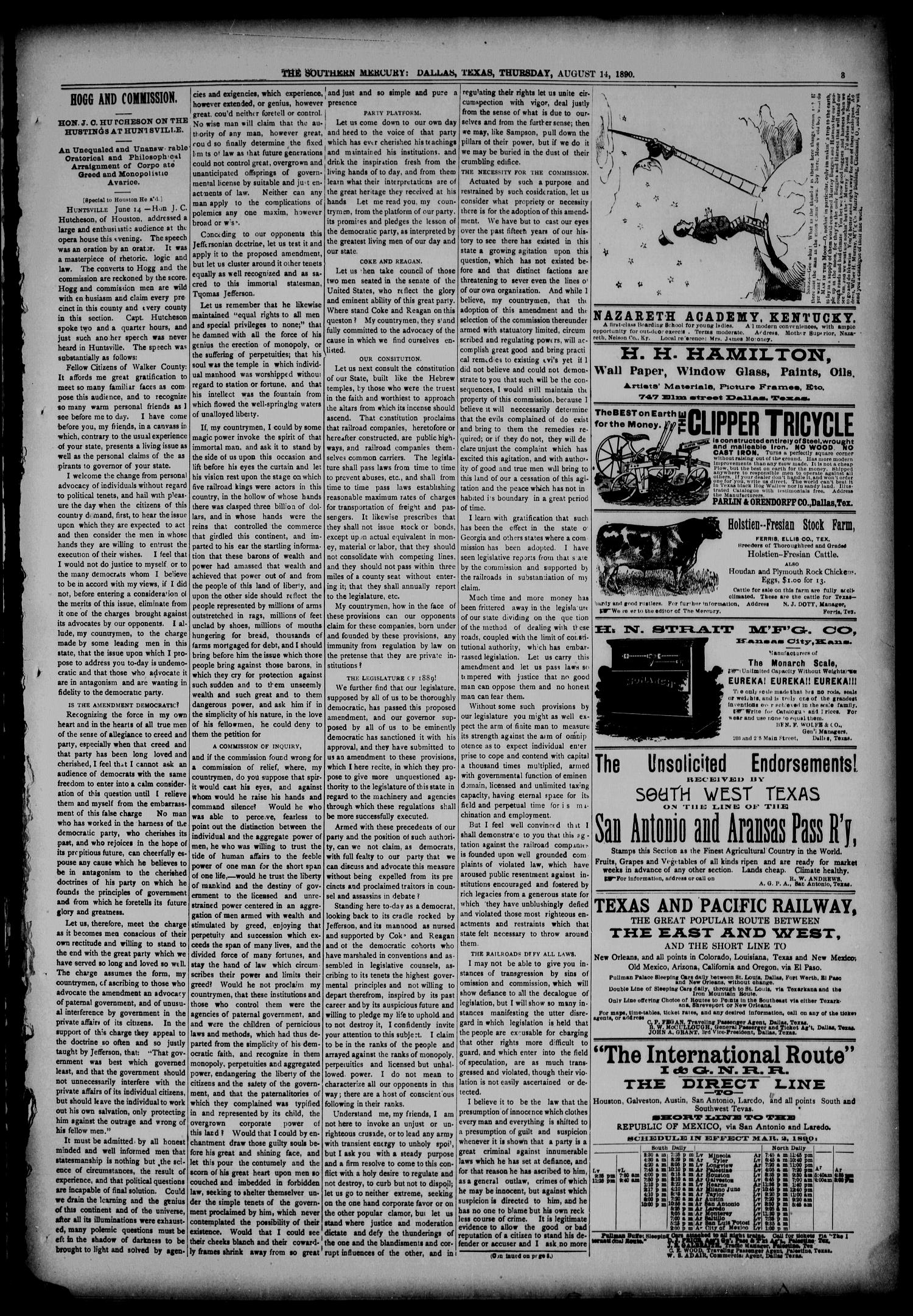 The Southern Mercury, Texas Farmers' Alliance Advocate. (Dallas, Tex.), Vol. 9, No. 33, Ed. 1 Thursday, August 14, 1890                                                                                                      [Sequence #]: 3 of 8