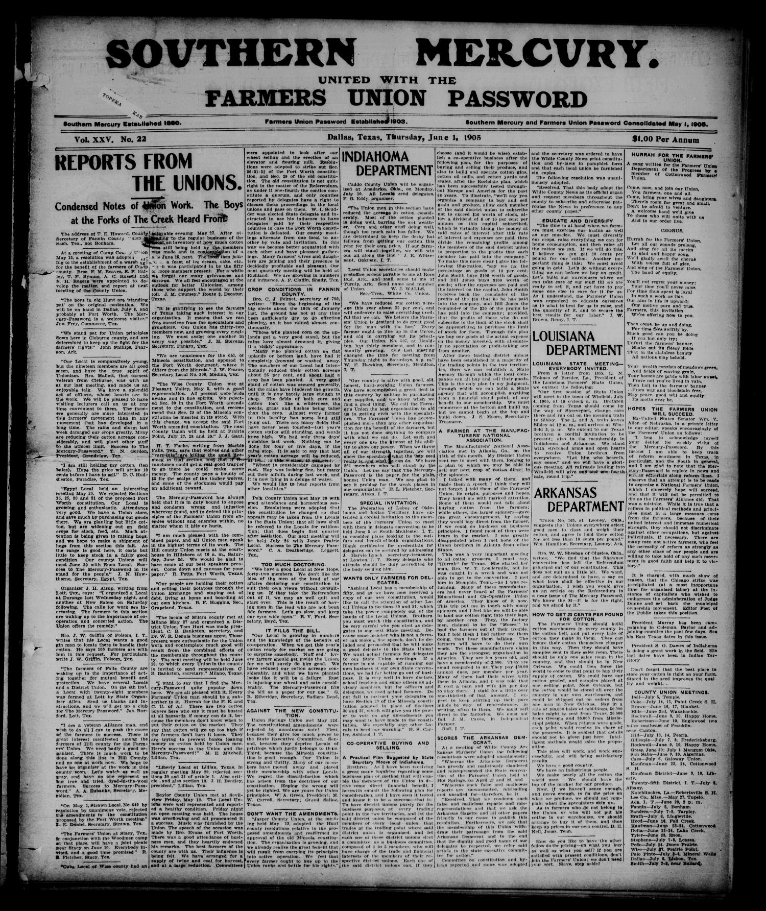 Southern Mercury United with the Farmers Union Password. (Dallas, Tex.), Vol. 25, No. 22, Ed. 1 Thursday, June 1, 1905                                                                                                      [Sequence #]: 1 of 8