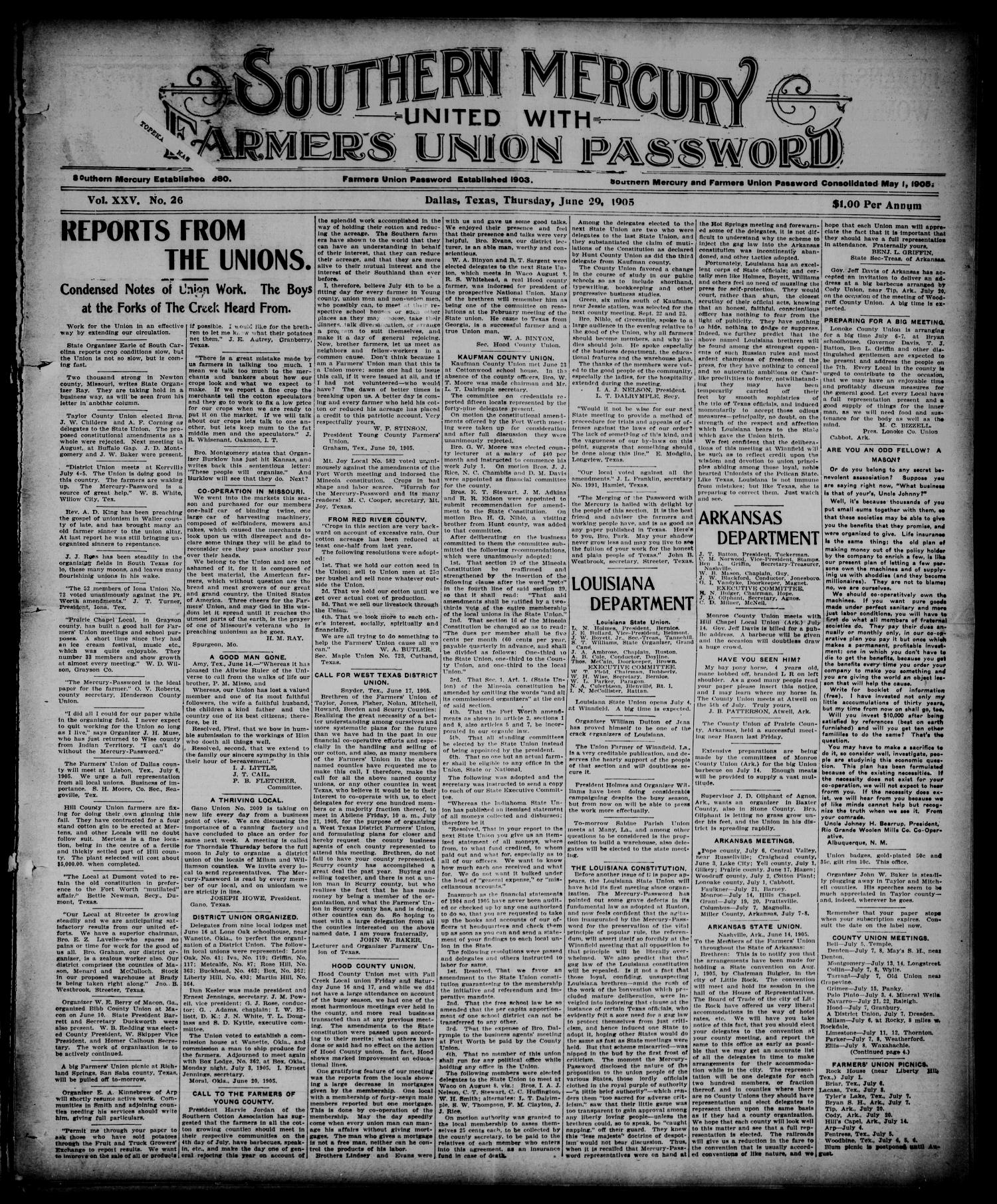 Southern Mercury United with the Farmers Union Password. (Dallas, Tex.), Vol. 25, No. 26, Ed. 1 Thursday, June 29, 1905                                                                                                      [Sequence #]: 1 of 8