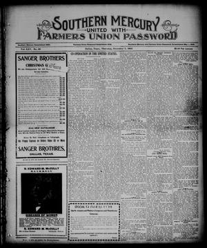 Primary view of object titled 'Southern Mercury United with the Farmers Union Password. (Dallas, Tex.), Vol. 25, No. 49, Ed. 1 Thursday, December 7, 1905'.