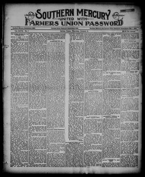 Primary view of object titled 'Southern Mercury United with the Farmers Union Password. (Dallas, Tex.), Vol. 27, No. 1, Ed. 1 Thursday, January 3, 1907'.