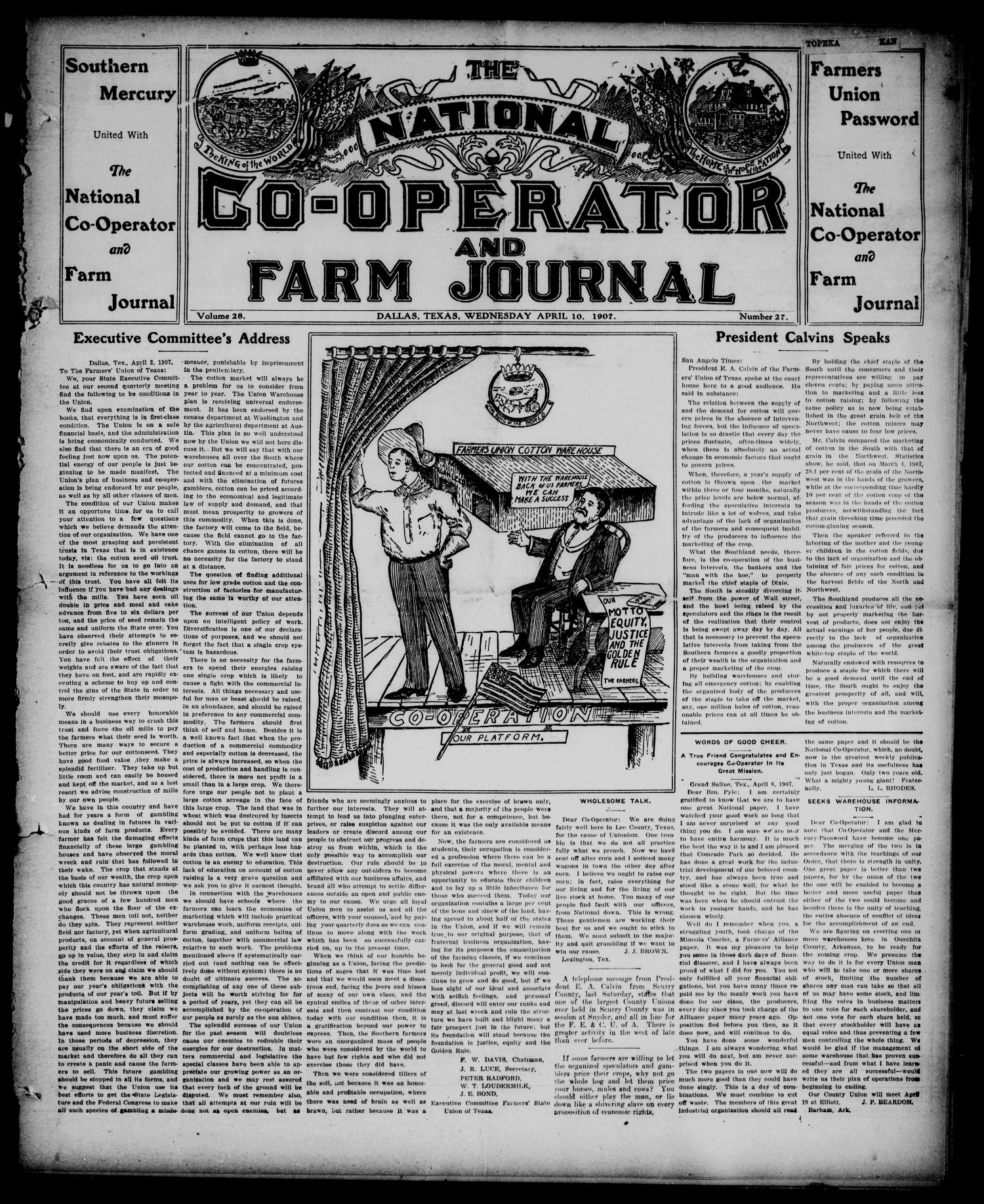 The National Co-operator and Farm Journal (Dallas, Tex.), Vol. 28, No. 27, Ed. 1 Wednesday, April 10, 1907                                                                                                      [Sequence #]: 1 of 8