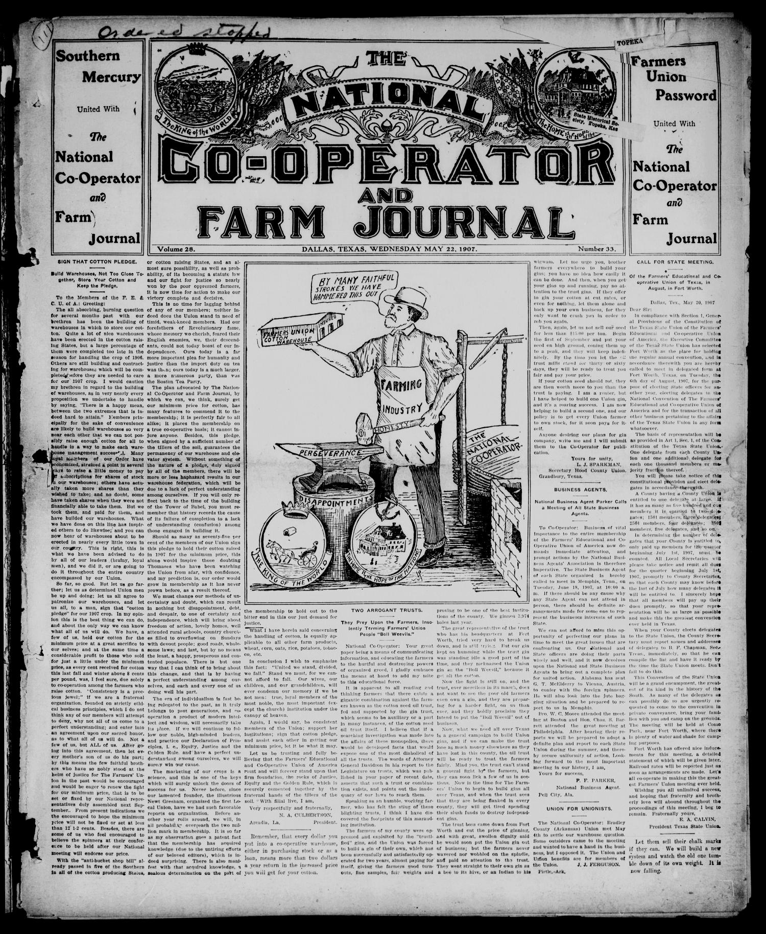 The National Co-operator and Farm Journal (Dallas, Tex.), Vol. 28, No. 33, Ed. 1 Wednesday, May 22, 1907                                                                                                      [Sequence #]: 1 of 8