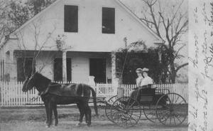 [Della and Therese Wilson in a carriage in front of home in Brazoria, TX]