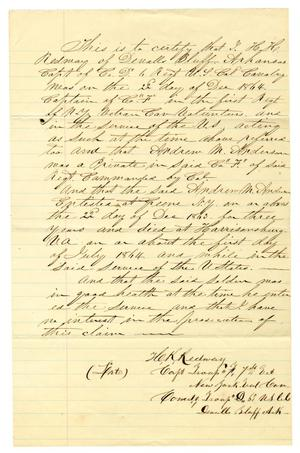 Primary view of object titled '[Affidavit from Hamilton K. Redway Concerning the Death of Andrew M. Anderson, 1864]'.