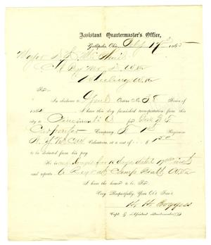 Primary view of object titled '[Letter from Capt. H. H. Boggess to Major McPhail, February 17, 1865]'.