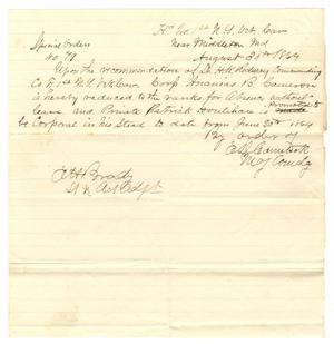 Primary view of object titled '[Letter from E. D. Comstock Special Order, August 30, 1864]'.