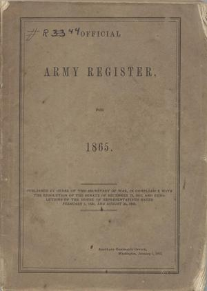 Primary view of object titled '[Official Army Register, 1865]'.