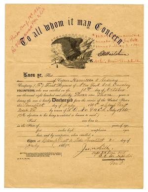 Primary view of object titled '[Discharge of Hamilton K. Redway, July 17, 1866]'.