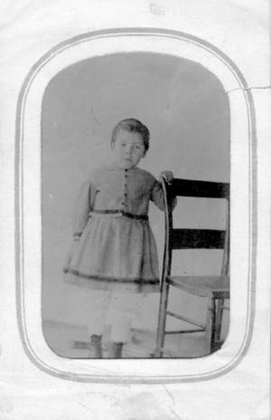 Primary view of object titled '[Beulah Sweeny in a short dress and bloomers]'.