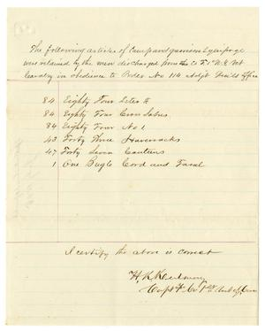 Primary view of [List of equipment retained by discharged soldiers, July 1868]