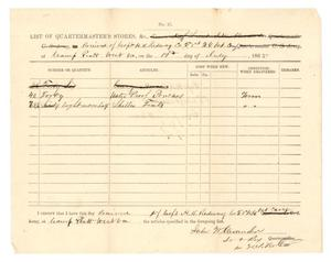 Primary view of object titled '[List of Quartermaster's Stores, July 19, 1865]'.