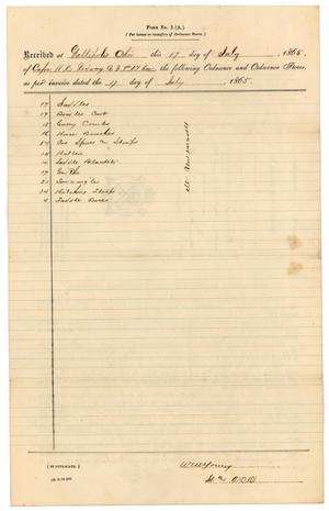 Primary view of object titled '[List of ordnance, July 17, 1865]'.