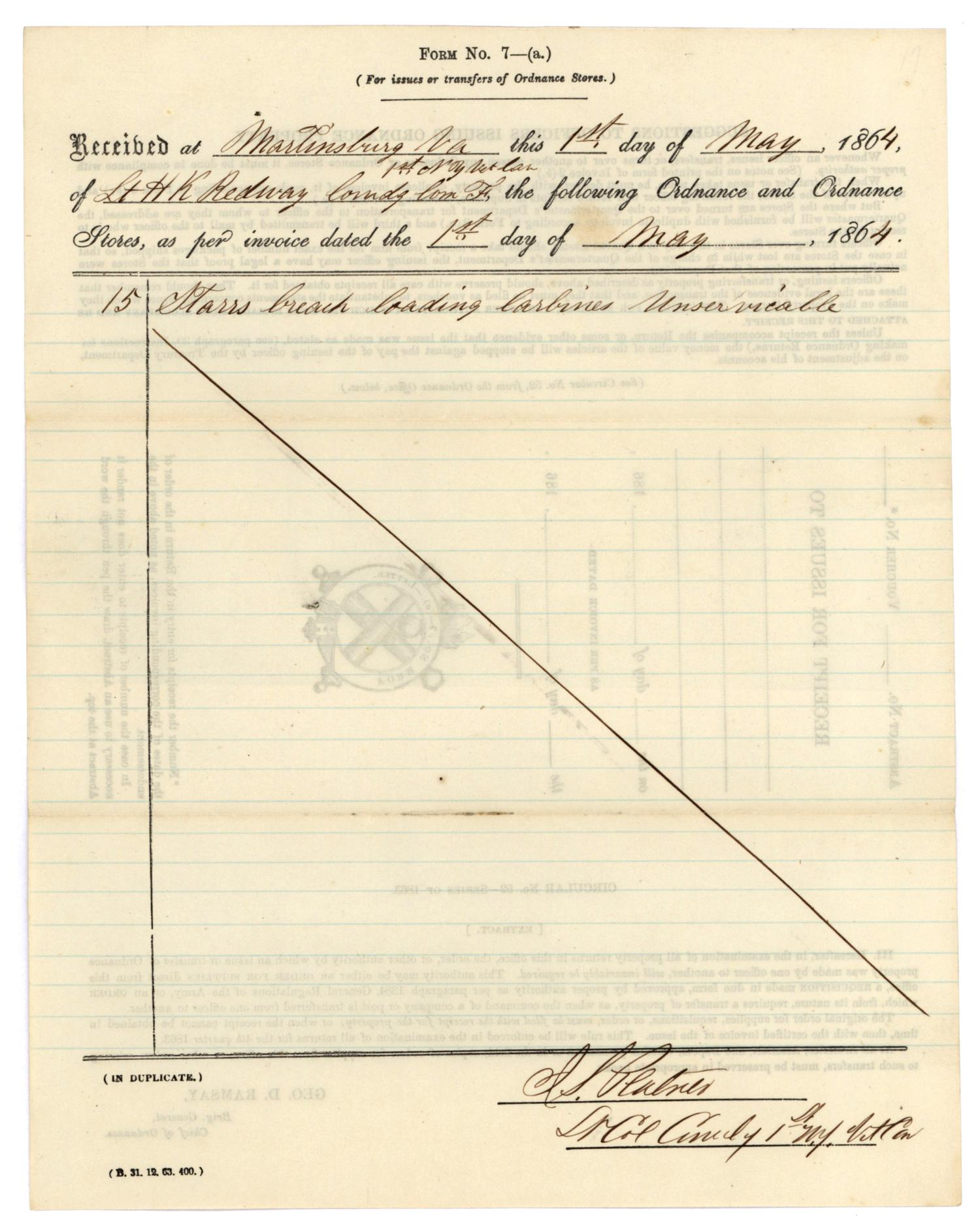 [Receipt for issues, May 1, 1864]                                                                                                      [Sequence #]: 1 of 2