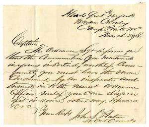 Primary view of [Letter from John S. Platner, March 29, 1865]