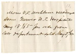 Primary view of [Hospital discharge notice, May 3, 1865]