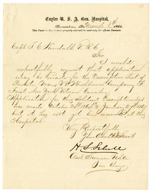 Primary view of object titled '[Letter from H. S. Schell to Capt. T. C. Kendall, March 8, 1865]'.