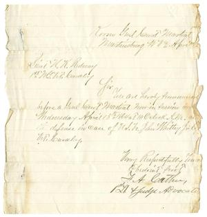 Primary view of object titled '[General court martial order, April 12, 1864]'.
