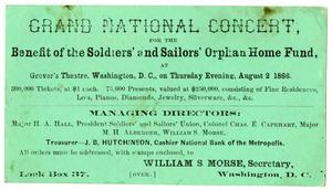 Primary view of object titled '[Advertisement for the Grand National Concert, August 2, 1866]'.