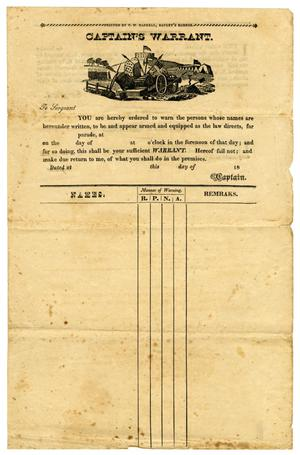 Primary view of object titled '[Blank Captain's Warrant]'.