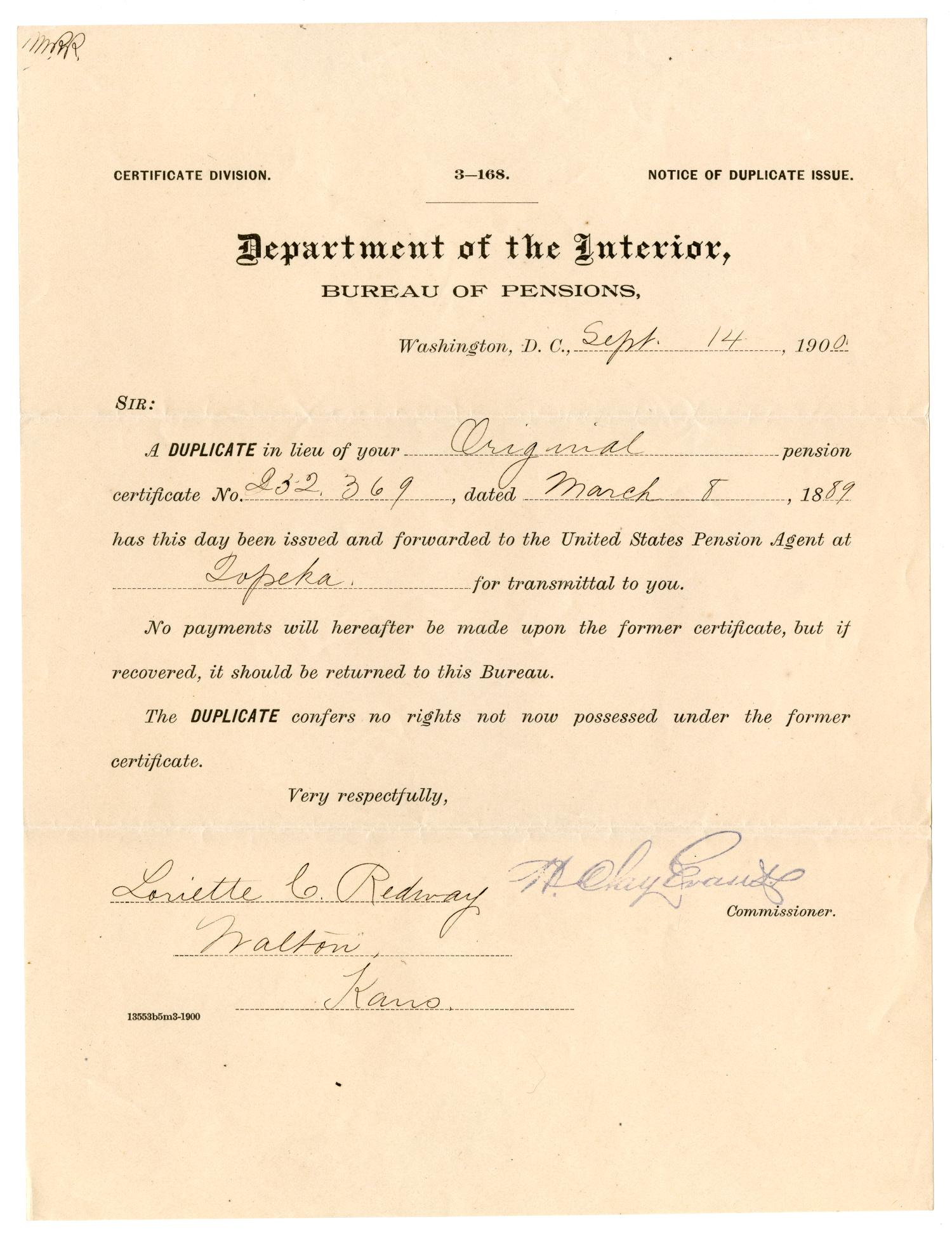 [Notice of duplicate issue, September 14, 1900]                                                                                                      [Sequence #]: 1 of 2
