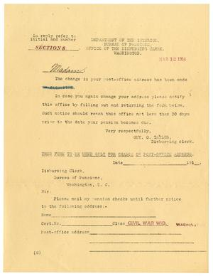 Primary view of object titled '[Change of Address Notification, March 12, 1914]'.