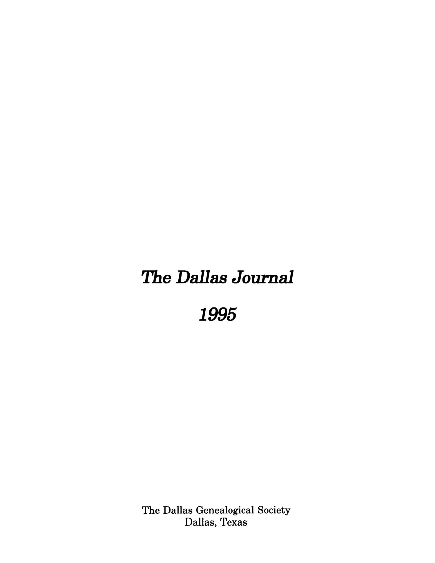 The Dallas Journal, Volume 41, 1995                                                                                                      Title Page