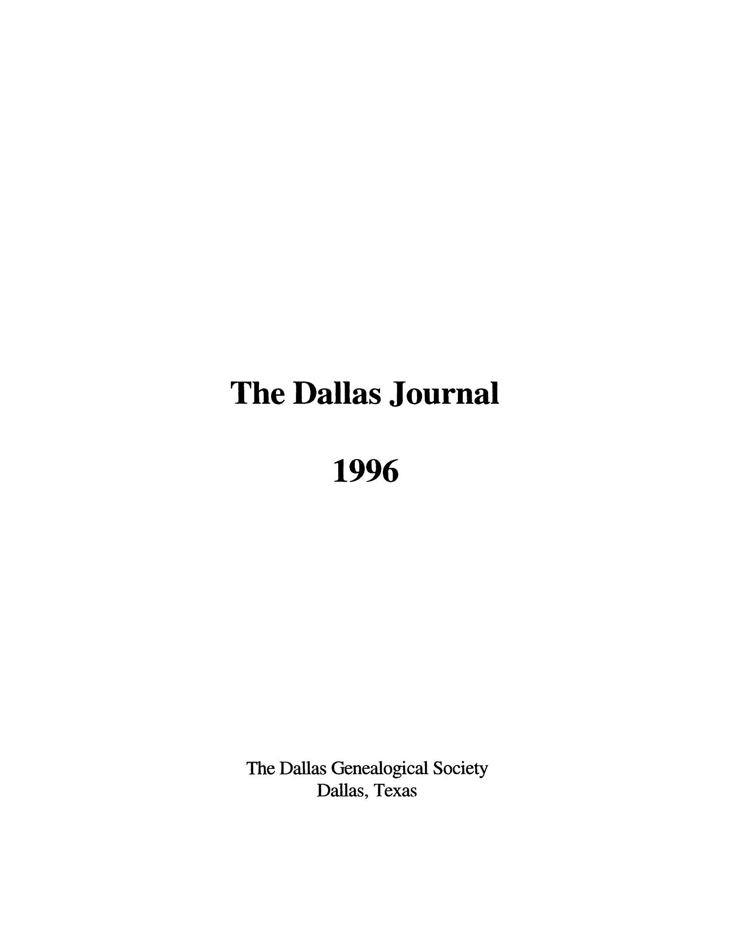 The Dallas Journal, Volume 42, 1996                                                                                                      Title Page