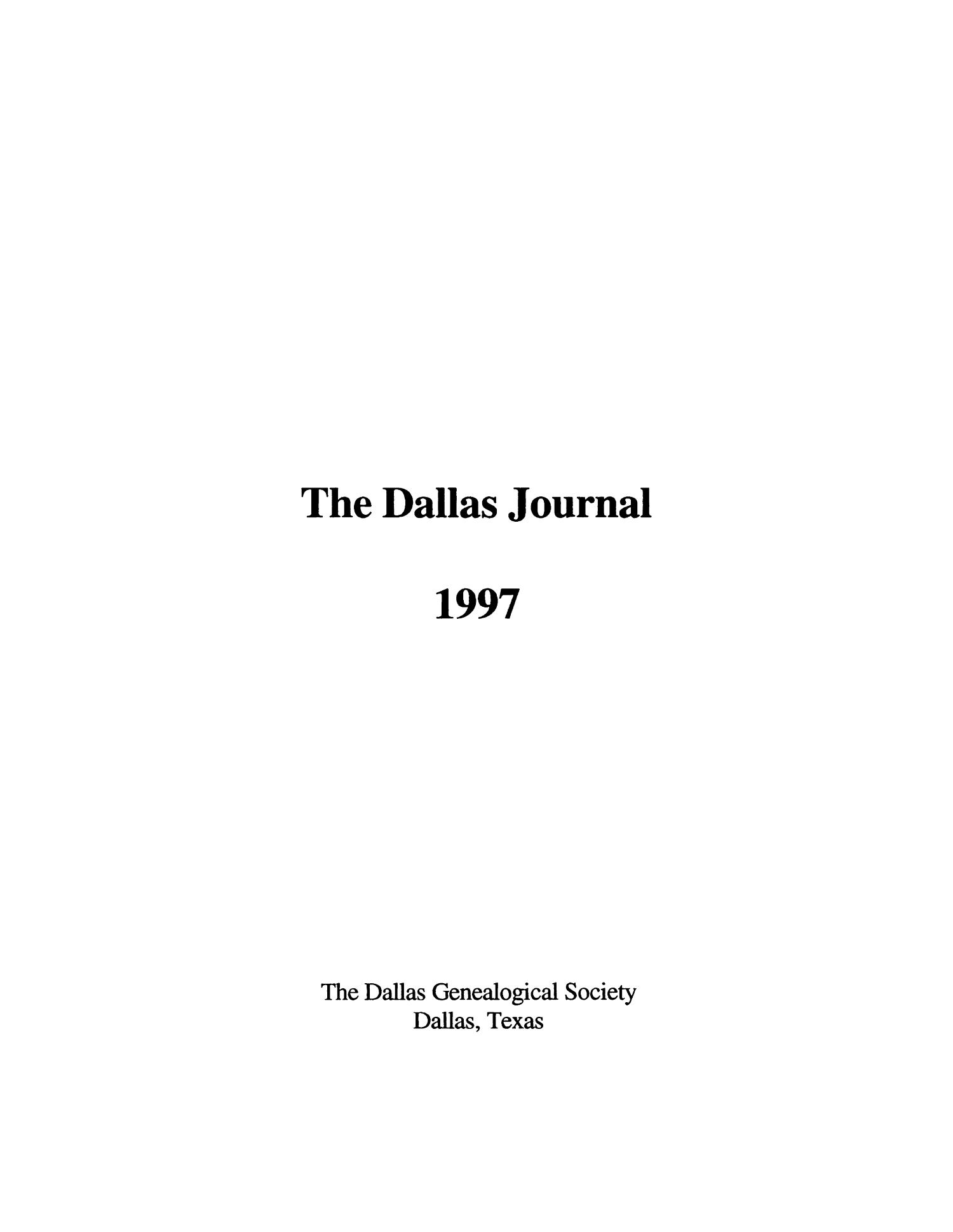The Dallas Journal, Volume 43, 1997                                                                                                      Title Page