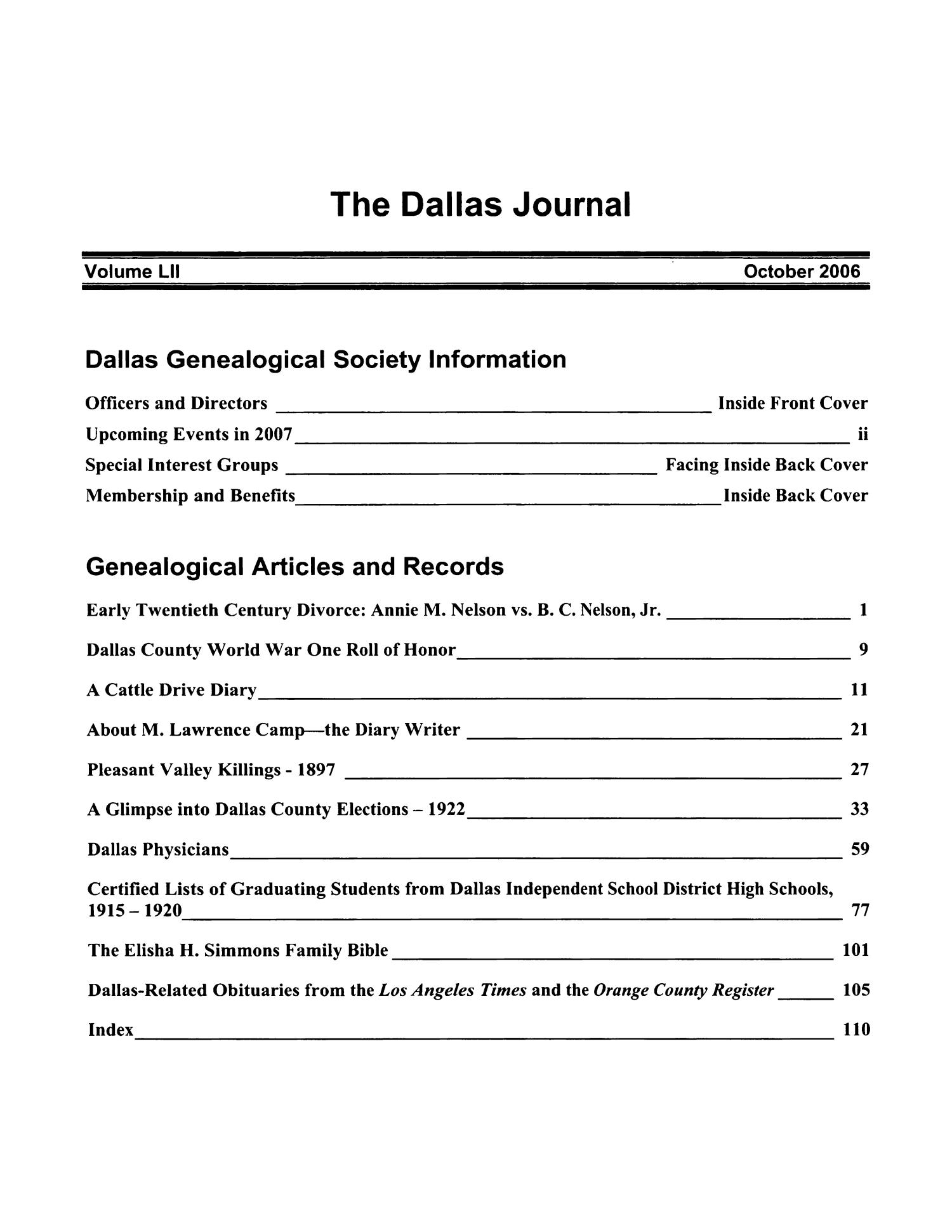 The Dallas Journal, Volume 51, 2006                                                                                                      Title Page