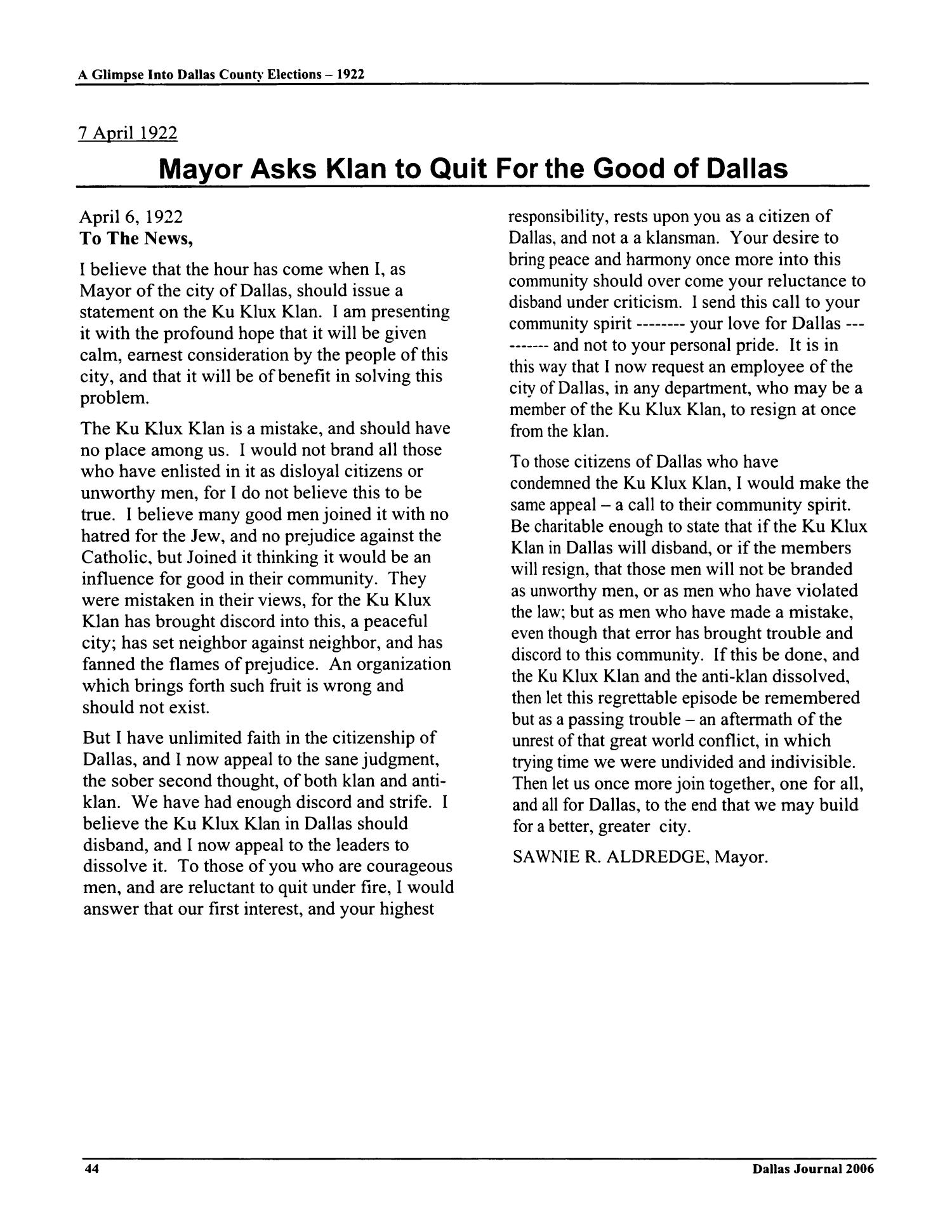 The Dallas Journal, Volume 51, 2006                                                                                                      44