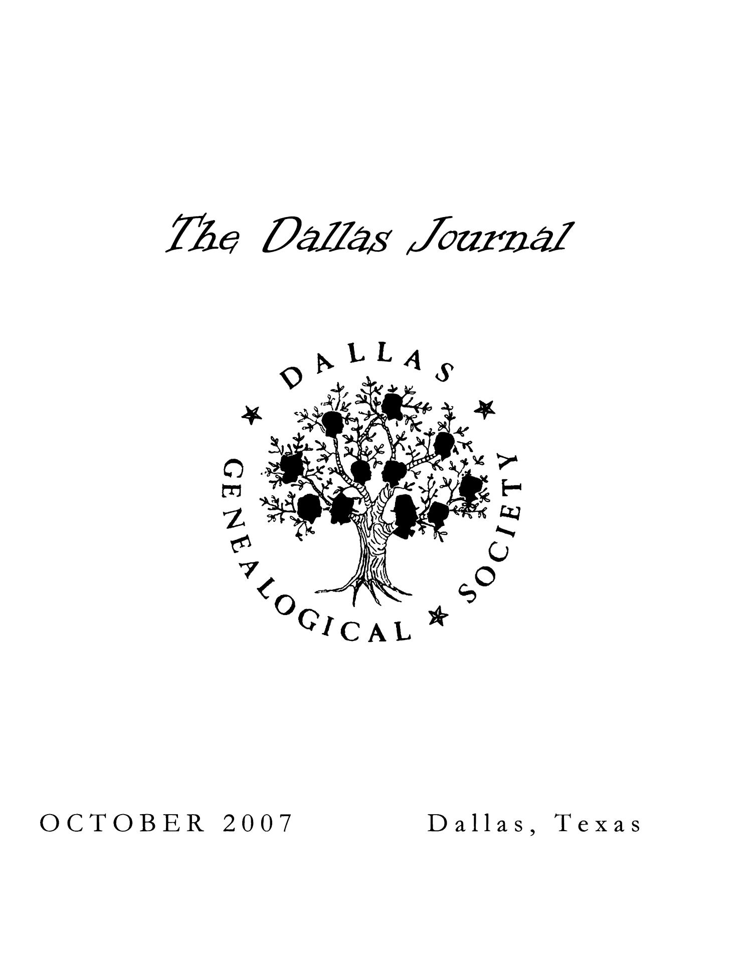 The Dallas Journal, Volume 53, 2007                                                                                                      Front Cover