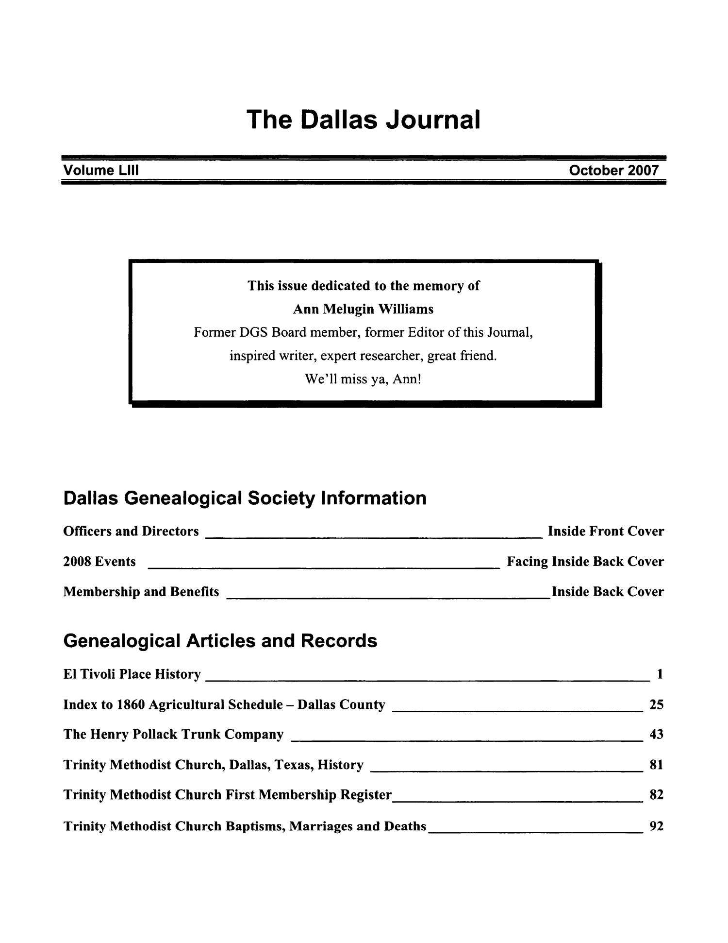 The Dallas Journal, Volume 53, 2007                                                                                                      Title Page