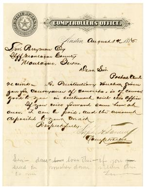 [Letter from Comptroller of Public Accounts Stephen H. Darden to Levi Perryman, August 14, 1875]
